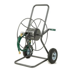 "Lewis Lifetime Tools - Two Wheeled Hose Truck - Features: -Wheeled. -All steel construction. -Anti rust finish. -Heavy duty hose trucks feature durable. -Pneumatic wheels perfect for rugged conditions. -Holds up to 2400 inch of hose. -Easy assembly. -Dimensions: 23"" H x 22"" W x 20"" D."