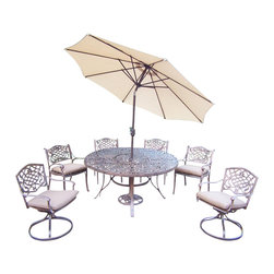 Oakland Living - 9-Pc Round Dining Set - Includes one dining table, two swivel rockers with cushions, four cushioned chairs, 9 in. tilt crank umbrella with stand and metal hardware. Fade, chip and crack resistant. Traditional lattice pattern and scroll work. Handcasted. Umbrella hole table top. Hardened powder coat. Warranty: One year limited. Made from rust free cast aluminum. Antique bronze finish. Minimal assembly required. Chair: 21.5 in. W x 23 in. D x 34 in. H (27 lbs.). Rocker: 23 in. W x 17.5 in. D x 38 in. H (33 lbs.). Table: 60 in. Dia. x 29 in. H (70 lbs.). Overall weight: 280 lbs.This dining set is the prefect piece for any outdoor dinner setting. Just the right size for any backyard or patio. Center of the table can be replaced with an ice bucket. We recommend that the products be covered to protect them when not in use. To preserve the beauty and finish of the metal products, we recommend applying an epoxy clear coat once a year. However, because of the nature of iron it will eventually rust when exposed to the elements. The Oakland Mississippi Collection combines southern style and modern designs giving you a rich addition to any outdoor setting.