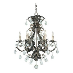 Savoy House - Crystal 6 Light Up Lighting Chandelier Chastain Collection - Six Light Ceiling FixtureFeatures New Tortoise Shell with Silver Finish with Clear Crystal and Antique Cream Drip Candle CoversRequires Six 60W Candelabra  Lamps