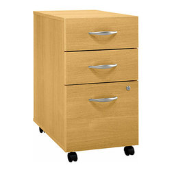 Bush Business - Three Drawer Assembled Rolling File Cabinet i - The Assembled Light Oak Three Drawer Mobile File features two box drawers and a capacious lower file drawer, each employing full extension, ball-bearing slides for smooth operation and lasting durability.  This stylish file rolls under any Series C desk shell.  This three drawer rolling cabinet can be used as a freestanding unit or can tuck under a desk.  Light oak finish is scuff and wear resistant.  Stylish satin pulls add a creative accent. * Rolls under any Series C desk shell. File drawer holds letter, legal or A4 files. Fully finished drawer interiors. File drawer extends on full extension, ball-bearing slides. One lock secures bottom two drawers. Fully assembled case goods. File drawer extends on full extension, ball-bearing slides. One lock secures bottom two drawers. 15.709 in. W x 20.276 in. D x 28.110 in. H