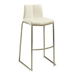 """Pastel Furniture - Daqo Bar Stool - The contemporary beautifully made stainless steel barstool has a simple yet elegant design that is perfect for any decor. An ideal way to add a touch of modern flair to any dining or entertaining area in your home. This barstool features a quality metal frame with sturdy legs and foot rest finished in stainless steel. The padded seat is upholstered in PU ivory offering comfort and style. Available in 26"""" counter height or 30"""" bar height."""