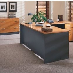 includes two file cabinets; each convenient three-drawer file cabinet ...