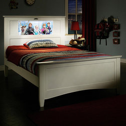 None - LightHeaded Beds Satin White Canterbury Full Bed with Back-lit LED Headboard Ima - Illuminate your child's imagination with a bed that's full of fun. This creative LightHeaded LED headboard works as a nightlight and reading light with endless image possibilities that fades to off as your youngster sleeps throughout the night.