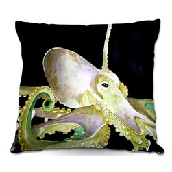 DiaNoche Designs - Pillow Woven Poplin from DiaNoche Designs by Marley Ungaro - Deep Sea Life- Octo - Toss this decorative pillow on any bed, sofa or chair, and add personality to your chic and stylish decor. Lay your head against your new art and relax! Made of woven Poly-Poplin.  Includes a cushy supportive pillow insert, zipped inside. Dye Sublimation printing adheres the ink to the material for long life and durability. Double Sided Print, Machine Washable, Product may vary slightly from image.