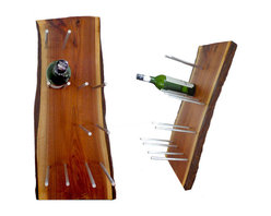 Live-Edge Solid Walnut 6-Bottle Wine Rack - This gorgeous wine rack looks beautiful whether you have filled it with six wine bottles, its empty, or somewhere in between, It's made from solid walnut wood with a life edge and aluminum rods which support the bottles and give them the appearance that they are floating.