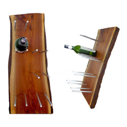 Live-Edge Solid Walnut 6-Bottle Wine Rack
