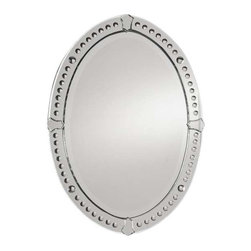 """Uttermost Graziano Frameless Oval Mirror - Curved beveled mirrors with convex circles. This frameless mirror features curved, beveled mirrors with small, round convex mirrors and tulip shaped mirror accents. Center mirror has a generous 1 1/4"""" bevel."""