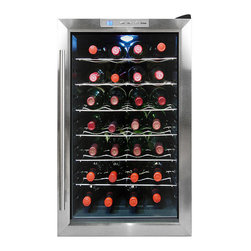 Vinotemp - Vinotemp - 28-Bottle Thermoelectric Wine Cooler - Featuring a black cabinet with stainless steel door trim and sturdy wire shelf racking, this cooler holds up to 28 bottles. This compact unit can be placed on a table top or be freestanding to keep your wine at just the right temperature. Also because of its thermoelectric cooling system, which involves very few moving parts, your wine will be protected from unnecessary vibration. Thermoelectric cooling is not only good for your valuable wine collection but also for the environment.