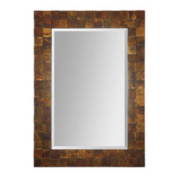 Wood Covered Copper Sheeting Mirror - Wood Covered Copper Sheeting Mirror
