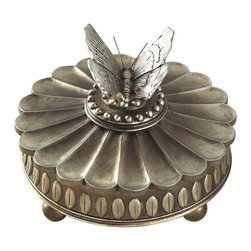 Sterling Industries - Sterling Industries Wolcott Lake Box X-8909-39 - Mid century elements have been paired with subtle classic details to create a unique appearance to this Sterling Industries box. This Wolcott Lake box features a butterfly shaped finial with all the details. A floral top with petals has been paired with a frame that features leaf accents in mid-century modern style.