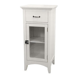 Elegant Home Fashions - Madison Avenue Floor Cabinet with 1 Door and 1 Drawer - Add style and storage to your bathroom with the Madison Avenue Floor Cabinet with One Door and One Drawer. Its pure white finish and translucent double glass windows will turn your bathroom into a winter wonderland get-away! Add a touch of elegance and bliss to your bathroom decor with this designer floor cabinet. Features: -One glass window.-One shelf behind single door and one pull-out drawer.-MDF Construction.-White finish.-Madison Avenue Collection.-Collection: Madison Avenue.-Distressed: No.Dimensions: -Overall Dimensions: 32'' H x 15'' W x 13'' D.-Overall Product Weight: 15.75 lbs.Assembly: -Assembly required.