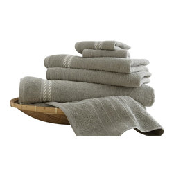 Spa Collection Egyptian Cotton Embroidered Rope 6-piece Towel Set   Taupe - Indulge yourself in spa like luxury with this luxurious six-piece towel set. The set is made of Egyptian cotton known for its softness, absorbency, and durability. These towels make an ideal complement to any bathroom whether you use it to pamper yourself or reserve it for special guests. Egyptian cotton fibers are valued for their superior length and strength, which also reduces the buildup of pile and lint. These towels will feel cozy and comfortable against your skin every time you use them. Additionally the towels get softer with washing and drying.