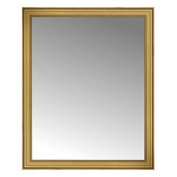 """Posters 2 Prints, LLC - 50"""" x 61"""" Arqadia Gold Traditional Custom Framed Mirror - 50"""" x 61"""" Custom Framed Mirror made by Posters 2 Prints. Standard glass with unrivaled selection of crafted mirror frames.  Protected with category II safety backing to keep glass fragments together should the mirror be accidentally broken.  Safe arrival guaranteed.  Made in the United States of America"""