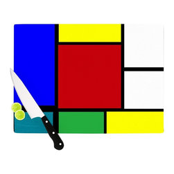 """Kess InHouse - Oriana Cordero """"Mondrian & Me"""" Multicolor Squares Cutting Board (11.5"""" x 15.75"""") - These sturdy tempered glass cutting boards will make everything you chop look like a Dutch painting. Perfect the art of cooking with your KESS InHouse unique art cutting board. Go for patterns or painted, either way this non-skid, dishwasher safe cutting board is perfect for preparing any artistic dinner or serving. Cut, chop, serve or frame, all of these unique cutting boards are gorgeous."""