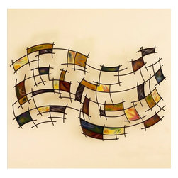 Southern Enterprises - Southern Enterprises Abstract Wall Art in Black Grid - Southern Enterprises - Wall Sculptures - GA1205R - Enjoy this abstract wall art on your wall. This distorted grid is filled with squares of bright colors. The wall brackets for this piece may be positioned hang horizontally with either side up to suit your preference.