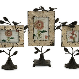 "Imax Worldwide Home - Mona Photo Frames - Set of 3 - Set of three romantic tin and iron photo fames in various sizes with bases and perched birds.; Country of Origin: China; Weight: 2.28 lbs; Dimensions: 11.5-13.25-15""h x 3.75-3.75-4.5""w x 6-6.75-8.5""d"
