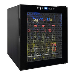 Vinotemp - 15-Bottle Wine Varietal Cellar - Store your wine at the perfect temperature while adding a chic touch to your home with the Wine Varietal 15-Bottle Wine Cellar. This clever wine cooler is the first to feature a decorative glass door that displays various varietal names, which provides a fun design element to this all black cooler. Setting the proper temperature for storing your wine is easy with the digital temperature controls, which let you select the appropriate settings for the type of wine being stored. The VT-15 TSWV features an interior light to illuminate your wine bottles, while the control panel lock will automatically disable access.