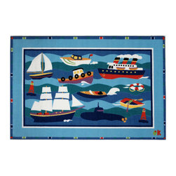 """Fun Rugs - Boats and Bouys Olive Kids Collection Rug - 39"""" x 58"""" - This colorful rug has boats and bouys design Collection Name: Olive Kids; 100% Nylon Dimensions: 39"""" x 58"""""""