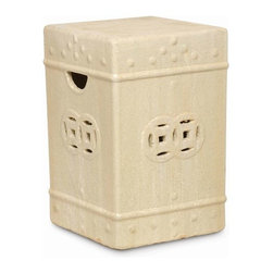 """The Ivory Company - Asian Square Garden Stool Small - A tradional linked fortune cutout design and raised dots accent our sturdy, square garden stool. Can be used as a casual seat, side table or plant stand - indoors or out. Champagne. Ceramic with a high-gloss finish and handcrafted details.These traditional inspired designs of an oriental staple make for handsome and distinctive accent pieces for the home. Enjoy these in and out of the house - in a formal living area, garden or in a vestibule. The sturdy functionality is only second to the aesthetic appeal of their timeless shape and style. Each Garden Stool design has been carefully hand-picked for its distinctive styling and its overall aesthetics.This is guaranteed to add beauty, style and add some practical functionality to any area of your home. Measures 12x12x18""""H"""