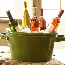 """Calibri Ceramic Beverage Party Bucket - The subtle richness of the potter's wheel is evident in this hand-thrown terra-cotta piece. Party Bucket: 21"""" wide x 13"""" deep x 8.5"""" high Wine Cooler: 9"""" wide x 6.5"""" deep x 8"""" high Made of terra cotta with a glazed finish."""