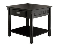 Winsome - Winsome Timber Solid Wood End Table/Nightstand in Black - Winsome - End Tables - 20124 - Solid wood construction and timeless design at an affordable price! This end table has a simple design and classic decorative touches that makes it a perfect addition to a variety of decor styles. Both chic and practical it features cup pull hardware squared legs and plank detailing for a modern urban look. Its solid wood construction ensures that this piece will last and handle any amount of use. Practical and Stylish Winsome Timber End Table in Black is a great accent to fit your needs.