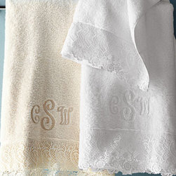 """Horchow - Callista Lace Bath Towel, Monogrammed - Exclusively ours. Beautiful towels trimmed with """"Callista"""" lace are made of 550-gram Egyptian cotton terry. Choose white or ivory below. Made in USA by Matouk. Machine wash. Bath towel, 30"""" x 52"""". Hand towel, 18"""" x 32"""". Guest towel, 14"""" x 21""""..."""