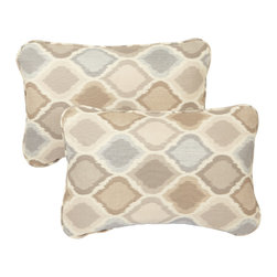 None - Beige/ Grey Indoor/ Outdoor Ogee Corded 13 x 20-inch Pillows with Sunbrella Fabr - Bring outdoor durability inside for everyday use with these indoor/ outdoor decorative throw accent lumbar pillows made with Sunbrella fabric. These beautiful pillows are trimmed with matching cording for dramatic style.