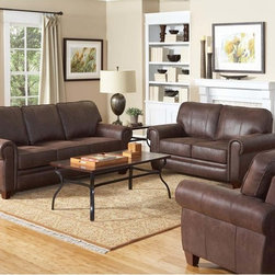 Coaster Traditional Brown Coated Microfiber Sofa Couch Loveseat Chair - Exuding a rustic personality, the Bentley sofa collection will fit well with any traditional styled living room. Featuring durable pocket coil seating wrapped in a plush coated microfiber in brown.