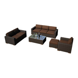 Harmonia Living - Arden 5 Piece Outdoor Wicker Sofa Set, Coffee Cushions - Entertain your guests in modern style and comfort with the 5 Piece Arden Sofa Set with Brown Sunbrella® Cushions (SKU HL-ARD-5SS-CH-CO). This set makes a practical choice for those who love showing theirs guests a good time with its comfortable, stylish design. The frames are made from thick-gauged aluminum and is wrapped with beautifully rich Chestnut finished wicker made from High-Density Polyethylene (HDPE). Each seat has plush, comfortable seat and back cushions that are covered in Sunbrella fabric, which is designed to be fast-drying and fade resistant, even in regular sun exposure. Teak wood feet sets this collection apart from others with a natural appeal that also elevates each piece for easy rearrangement.