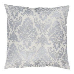 Rizzy Rugs - Rizzy Home Silver 18 Inch x 18 Inch Pillow Cover with Hidden Zipper - - Pillow Cover with Hidden Zipper  - Poly Slub Fabric  - Printed Pattern  - Primary Color - Silver  - Secondary Color - White  -  Machine Wash on Gentle Cycle with Mild Detergent.  Lay Flat to Dry. Rizzy Rugs - T03593
