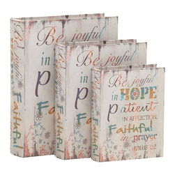 Wonderful Styled Wood Book Box, Set of 3 - Description: