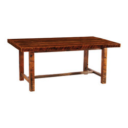 """Fireside Lodge - Barnwood Farmhouse Table Artisan Finish 72""""L x 42""""W x 36""""H - Barnwood farmhouse tables are functional and beautiful additions to your decor. This table features a reclaimed wood top crafted from 19th century  barn wood. An Amish-style design with an artisan finish features counter-height post legs and a crossbar base for extra stability. This assures space for extra seating when guests arrive. Purchase with confidence knowing your table includes a limited lifetime warranty AND a sturdy clear-coat finish that will protect the wood table finish for years and years. Beautiful artisan finish and counter-height table top."""
