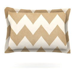 """Kess InHouse - Catherine McDonald """"Biscotti and Cream"""" Chevron Pillow Sham (Cotton, 30"""" x 20"""") - Pairing your already chic duvet cover with playful pillow shams is the perfect way to tie your bedroom together. There are endless possibilities to feed your artistic palette with these imaginative pillow shams. It will looks so elegant you won't want ruin the masterpiece you have created when you go to bed. Not only are these pillow shams nice to look at they are also made from a high quality cotton blend. They are so soft that they will elevate your sleep up to level that is beyond Cloud 9. We always print our goods with the highest quality printing process in order to maintain the integrity of the art that you are adeptly displaying. This means that you won't have to worry about your art fading or your sham loosing it's freshness."""