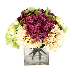 Inspired Living - Cream, Violet and Green Hydrangeas in Square Glass - This vivid arrangement includes green, cream and violet hydrangeas in a clear round glass with acrylic water.