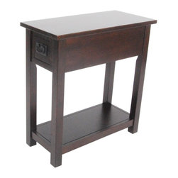 Alaterre Furniture - Mission Chairside Table - Espresso - This chairside table is the table you always knew you needed but had a hard time finding. With its slim profile, drawer, & shelf it is is the perfect fit in a narrow spot, other end of the sofa, or next to your favorite chair. Comes with a drawer & a shelf to keep remotes, coasters, & more at your side. Made of select hardwoods. Made in China. 11 in. L x 23 in. W x 24 in. H (26 lbs.)Classic Mission Style furniture collection is handsomely crafted & versatile with many decorating styles.