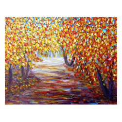 """Colorful Autumn, Original, Painting - """"The spring, summer, is quite a hectic time for people in their lives, but then it comes to autumn, and to winter, and you can't but help think back to the year that was, and then hopefully looking forward to the year that is approaching. -- Enya *** Acrylic on stretched canvas."""""""