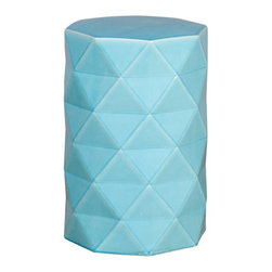 Octagon Ceramic Garden Stool/Table - I love the bright colors and triangular pattern of this stool. Garden stools are a great way to double for seating and table space.