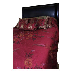 Banarsi Designs - Hand Painted Floral 7-Piece Duvet Cover Set, Saffron Red, Queen - Our decorative and unique 7-piece hand painted floral duvet cover set from Banarsi Designs includes: 1 duvet cover, 2 square pillow covers, 2 rectangular pillow covers, and 2 bolster pillow covers.