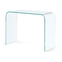 ZUO MODERN - Mecca Console Table Clear Glass - Gracefully formed from a solid piece of semi-tempered glass, the beauty of the Mecca console table is that it never seems to clutter a room.