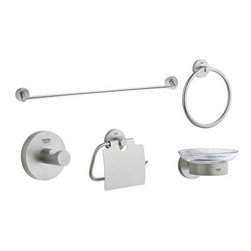 """Grohe - Grohe 40344EN0 Brushed Nickel Essentials Essentials Collection - Accessory Kit from Essentials Collection A beautiful and easy upgrade to any bathroom.  The Essentials collection is a clean look for any bathroom and carries the Grohe name. Included in this kit: 24"""" towel bar, towel ring, tissue holder, robe hook, & soap dish  24"""" Towel Bar (40 366) 8"""" Towel Ring (40 365) Robe Hook (40 364) Paper Holder (40 367) Soap Dish (40 368 + 40 369)"""