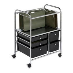 Honey-can-do - Honey-Can-Do Steel Rolling File Cart - Stay tidy and organized in your home office or at work with this versatile Honey-Can-Do 5-drawer rolling file cart.