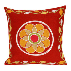"""Trans-Ocean - Maroma Red Pillow - 20"""" SQ - The highly detailed painterly effect is achieved by Liora Mannes patented Lamontage process which combines hand crafted art with cutting edge technology.These pillows are made with 100% polyester microfiber for an extra soft hand, and a 100% Polyester Insert.Liora Manne's pillows are suitable for Indoors or Outdoors, are antimicrobial, have a removable cover with a zipper closure for easy-care, and are handwashable."""