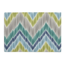 Green & Lime Large Ikat Chevron Custom Placemat Set - Is your table looking sad and lonely? Give it a boost with at set of Simple Placemats. Customizable in hundreds of fabrics, you're sure to find the perfect set for daily dining or that fancy shindig. We love it in this giant ikat chevron in bright blue, greens, & grays on smooth sateen. this flamestitch will set your decor ablaze.