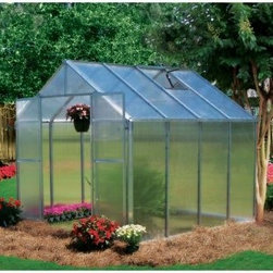 "Riverstone Industries Monticello 8 x 8 ft. Greenhouse - The Riverstone Industries Monticello 8 x 8 ft. Greenhouse is terrific for growing all kinds of things including a green thumb. By stabilizing some of the variables nature tries to throw at you you can create a more conducive atmosphere for developing your growing techniques. No longer will an unexpected late frost dash your springtime efforts before you can see the fruits of your labors. Even after learning the ropes this greenhouse makes for an indispensable gardening tool allowing you to start your growing early and even produce year round providing safe sustainable ways to extend the growing season. The Monticello Greenhouse by Riverstone Industries uses the highest-quality extruded aluminum available - over 40 lbs. more than an average imported greenhouse of this size. Furthermore it uses high-impact UV-stable 8mm twin wall polycarbonate for the walls and roof whereas most other greenhouses on the market use less expensive materials that they stretch as thin as .2mm. Riverstone's extra measures of strength pay off by securing your greenhouse and all its precious contents from snow loads up to 24 pounds per square foot and from gusts of wind up to 113 miles per hour making this far stronger than the average greenhouse. In addition to its ability to hold up under strenuous natural conditions these high-quality materials also make the greenhouse's growing potential more efficient stretching the natural season longer and cutting down on electric bills for those looking to grow year round. Not only does Riverstone Industries use the highest grade materials on these greenhouses they also construct them with features designed to help you make the most of your horticultural efforts. The automatic roof vents will enable you to keep a good temperature and airflow while the dual integrated rain water gutter system helps you make the most of the elements that nature already provides. And Riverstone hasn't forgotten to keep assembly simple so even an inexperienced builder doesn't have to waste a whole weekend putting this greenhouse together. In less than a day you'll be able to jump right into your planting and production which is the reason you bought it in the first place. Additional features: High-impact UV stable 8 mm twin polycarbonate walls and roof Heavy-duty extruded aluminum frame Easy fast assembly even for inexperienced builders Assembly time of approximately 4 hours Peak height: 90 inches Sidewall height: 58 inches Door dimensions: 48W x 68H in. """"Easy roll"""" sliding entry doors with locking ability 2 x 2 ft. roof vent with automatic opener Expandable in 4-ft. increments as needed (extensions sold separately) Efficient - average annual cost for year round operation is $100-$150 Snow load capacity: 24lbs./sq. ft. Wind load capacity: 52m/sec. (113 mph gusts) Proudly made in the United States About Riverstone IndustriesRiverstone Industries prides itself on producing high-quality environmentally and economically conscientious products for the masses. They believe that their green product lines will enable everyone to help forge a brighter future for themselves and their world. By creating merchandise that is easy to assemble backed by confident warranties and supported by top-notch customer service they have built and maintained outstanding quality that has resulted in customer satisfaction. Over the years Riverstone Industries has also made a conscious effort to move its design and manufacturing programs to the United States helping secure domestic jobs and a stronger economic environment."