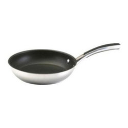 """Farberware Cookware - FW Millennium SS 10"""" Skillet - Millennium Stainless Steel 10"""" Skillet has a sloped sides so that foods slide out easily. This large size is ideal for cooking omelets  pancakes  quesadillas  sauteing vegetables  searing steaks  fish and poultry. The nonstick surface makes cleanup effortless.   Silicone enhanced stainless steel handles are riveted securely to the pan and comfortable to hold - oven safe to 400 degrees F; polished stainless steel construction  An 18/0 stainless protector surrounds the thick aluminum base  providing perfect heat distribution across the bottom of the pan and suitability for induction stovetops; Dishwasher safe.   ."""