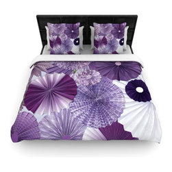 "Kess InHouse - Heidi Jennings ""Lavender Wishes"" Purple Woven Duvet Cover (King, 104"" x 88"") - Add a splash of artistically inclined comfort to the average down comforter with a large focus to your bed! Our duvet cover is made of a beautifully crafted woven polyester fabric on top and a comforting and soft cotton/poly blend on bottom! We highly recommend washing your artwork before laying it onto your bed for added comfort and softness! These are totally machine washable and won't fade!"