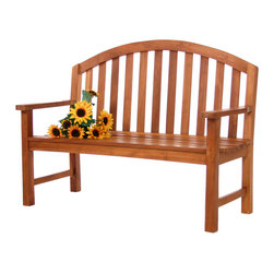 All Things Cedar - TEAK Derby Bench - Solid mortise and tennon joinery and a graceful arched back sets this bench apart from all others. Manufactured from enviromentally friendly Plantation Teak and stained with a light teak oil for many years of use and enjoyment. : DIMESNIONS : 53w x 24d x 39h --- SEAT : 52w x 19d x 17h (knockdown)