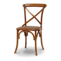 Palecek - Crossings Side Chair, Mahogany - Plantation hardwood frame with bent wood back and cross detail. Woven cane matting over padded seat. Available only as shown.