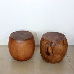 Mango Wood Light Teak Oil Pouf Stool - Warm teak stools provide additional seating when entertaining and stand up to everyday abuse.