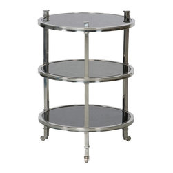 Vanguard - Ellsworth Round Lamp Table - Dress up your living room with some 1930s Hollywood glamor. The three mirror-finish tiers of this side table are the perfect setting for your gin fizz or a couple of ice-cold martinis.